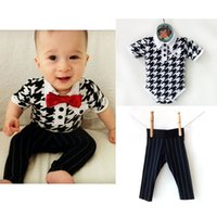 Boy lapel lattice bowknot rompers Suits 2015 new children la...