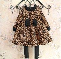 2016 Leopard Print Girls Dress Ruffles Neck Bowknot Wild Lei...