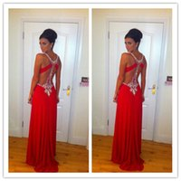 Sexy Red Prom Dresses with Crystal Beading New Charming High...
