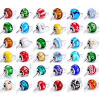 Perles charme lâches bricolage 9 * 14mm Pandora Perles Unique en Murano DIY Bracelet Mix couleur 100pcs / lot