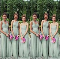2017 Новый Пляж Платья невесты Длинные одно плечо этаж 3 Стили свадебного платья сшитое Плюс Размер Зеленый вечерние платья