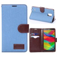 For Samsung Galaxy Note4 Jeans Wallet Leather Pouch Case Cov...