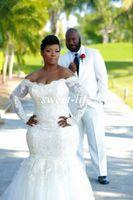 2015 Плюс Размер Свадебные платья Sexy Русалка с длинным рукавом Backless шнурка плеча Tulle выполненные на заказ Sheer Vestidos De NOVIA свадебные платья