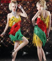 Lady Cocktail Club Wear Party Latin Dance Sequined Tassels D...