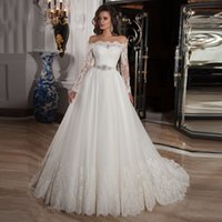 Elegant Ivory Lace Tulle Wedding Dresses 2016 Off Shoulder A...