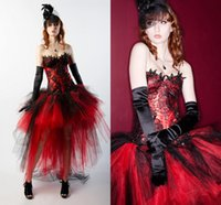 Red And Black Soft Tulle Lace Appliques Hi- Lo Sexy New Fashi...