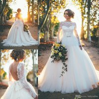 2016 See Through Long Sleeves Lace A Line Wedding Dresses Sp...