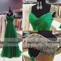 2015 Emerald Green Chiffon Crystals Evening Prom Dresses Cap...