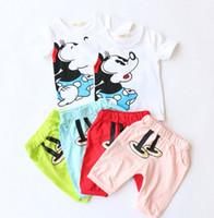 2016 Summer 2pcs Set Girls Boys Cartoon Tee Shirts Tops Pant...