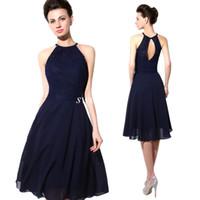 2015 Дешевые Короткие платья партии синий шнурок Холтер Открыть Назад шифон линии колен Коктейль платье свадебные платья невесты