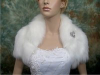 Hot Exquisite Short Sleeves Faux Fur bolero bridal wrap shru...