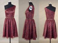2015 Burgundy Lace Bridesmaid Dresses Short A- Line Fashion O...