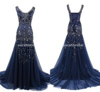 Arabic Dark Navy Blue Prom Evening Dresses with Sparkly Rhin...