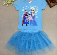 EMS DHL 2015 Princess Frozen Set Kids Clothes Elsa Anna Tshi...