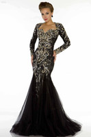 Formal Evening Dresses Long Sleeve Sequins Prom Gowns Mermai...