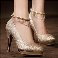 Золотистой Шнуровка Свадебные Свадебная обувь Кристаллы 10см высокой пятки свадьба обувь Стразы платье женщин туфли на высоком каблуке