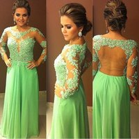 Long Sleeve Prom Dresses with Illusion Neck 2015 Jewel Green...