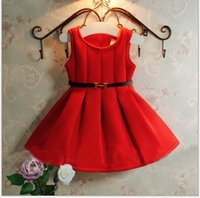 2015 Summer Autumn Dresses Girls Sleeveless Dress with Belt ...
