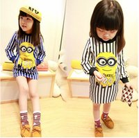 Girls despicable me minion stripe dress 2015 new 2 color Lov...