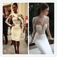 2015 Top Glamorous Evening Dresses Long Sleeve Lace Prom Dre...