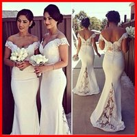 Off The Shoulder Mermaid Bridesmaid Dresses Cheap 2015 Spand...