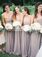 A Line Sweetheart Chiffon Long Formal Garden Bridesmaid Dres...
