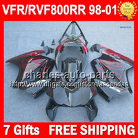 7gifts For HONDA Red flames VFR800 interceptor 98- 01 VFR800R...