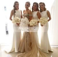 Column Jewel Satin Long Formal Garden Bridesmaid Dresses Cus...