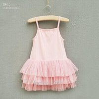 baby girl kids pettiskirt tutu dress strap lace tank tops si...