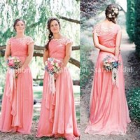 2015 Coral Bohemian Bridesmaid Dresses For Country Rustic Ga...
