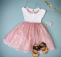 NEW ARRIVAL baby girl kids summer outfits 2pc set sequin shi...