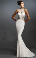 Белый Sexy Русалка Вечерние платья с длиной Аппликация Кружева Пол горб Джерси Пром партии халатов Vestidos де Феста