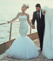 Новый Русалка Кристалл Свадебные платья без рукавов 2 016 Милая бретелек Свадебные платья невесты платья Длинные Поезд на заказ