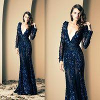 2015 Зияд Nakad Royal Blue Пром платья Глубокий V шеи Hand Made Цветки Sheer рукава Русалка Иллюзия Кружева Длинные вечерние платья