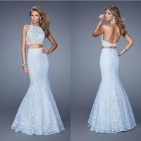 2015 Lace Mermaid Two Pieces Party Dresses Halter Backless E...