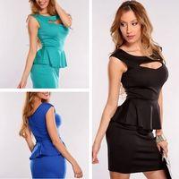 BLUE black green Bateau Ruffles Sleeveless slim dress M L XL...