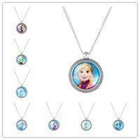 New Frozen cartoon Figure Glass Pendant Necklace Jewelry Aol...