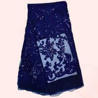 Amazing sequins pattern royal blue African mesh material Fre...
