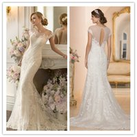 2015 New Fashion Mermaid Wedding Dresses With Short Sleeve L...