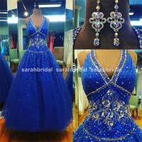 Royal Blue Tulle Ball Prom Dresses with Halter Strap Backles...