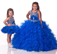 New Brightest Red Royal Blue Ball Gown Girl Kids Pageant Eve...
