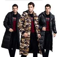 Black Camouflage Mens Winter Coats Warm Thicken Long Army Gr...