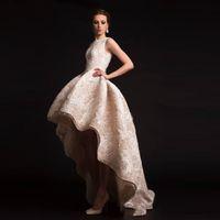 2015 Krikor Jabotian вечерние платья хило оборками платья выпускного вечера Crew декольте органзы цветка Аппликации Формальное бальное платье Форма
