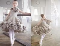 2016 Последние цветок девочки платья для свадеб ручной работы из цветов длиной до колен бальное платье балета Pageant девушка партии платье первое причастие платье