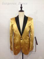 Unique Design Gold Blazers Man Suit Wedding Dresses Peaked L...