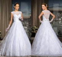 Hot Selling White Lace Wedding Dresses 2016 Sheer High Neck ...