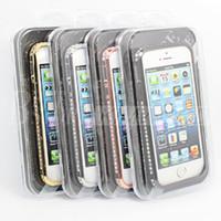 Densely-Covered Bling Cristal Rhinestone Métal Plastique 2 dans 1 Mobile Phone Bumper Case Pour Iphone 7 6 6s Plus 5 4 Retail Box