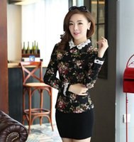 Vintage Slim Women Shirts Cotton Fur Warm Rose Print Lace Co...