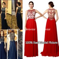 2015 Long Prom Dresses For Girls Hot Sale Cheap Dark Navy Ch...