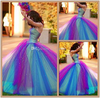 2015 Rainbow Tulle Colorful Ball Gown Wedding Dresses Factor...